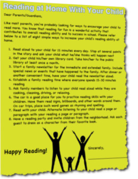 Reading At Home With Your Child Letter to Parents Guardians
