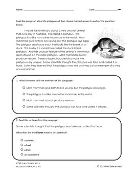 Differentiated Reading Article About Platypus - 3 levels