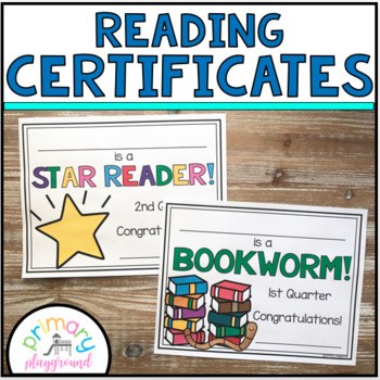 Reading Awards/Certificates Editable by Primary Playground | TpT