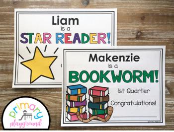 Reading Awards/Certificates Editable