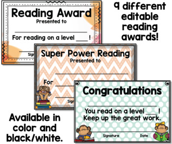 Reading Awards - Editable Color and Black and White Certificates