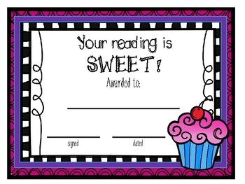 Reading Awards - Sweet Themed!
