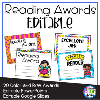 Reading Awards and Certificates {Editable}