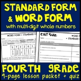 Word Form & Standard Form, 4th Grade 9-Page Lesson Packet + Quiz, 4.NBT.2
