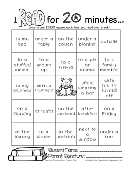 Reading BINGO Break Homework