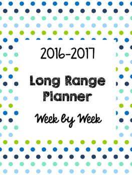 Long Range Lesson Plan Calendar