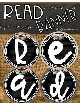 Reading Banner Classroom Decoration Bulletin Board Chalkboard and Burlap Theme