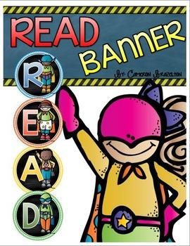 Reading Banner Classroom Decoration Bulletin Board SuperheroTheme