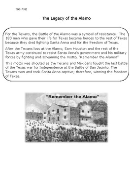 Reading: Battle and Legacy of the Alamo
