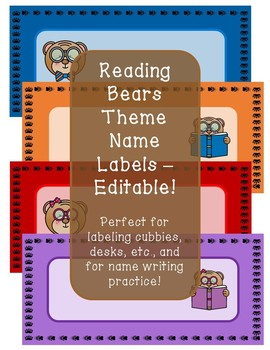 Reading Bears Theme Name Labels - Editable!