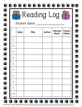Reading Bears Theme Reading Log