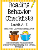 Reading Behavior Checklists