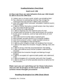 Reading Behaviors Levels L M N Tool