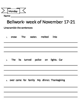 Reading Bellwork