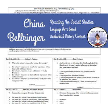 Reading in Social Studies Bell work: China- SS.6.W.4.6