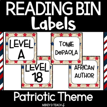 Reading Bin / Book Bin Labels for Classroom Library - Patriotic Red, White, Blue
