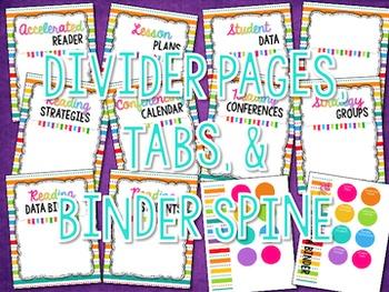 Reading Binder Dividers, Tabs, & Binder Spine {BRIGHTS}