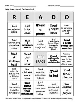 """Reading Bingo """"READO"""""""
