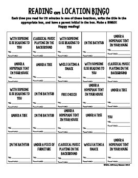Reading Bingo Board