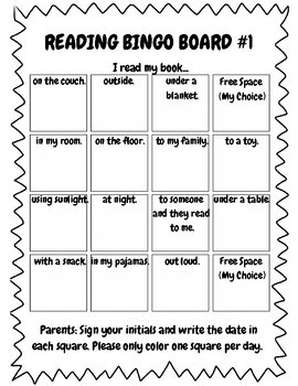 Reading Bingo Boards