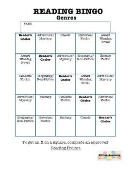 Reading Bingo - Genres