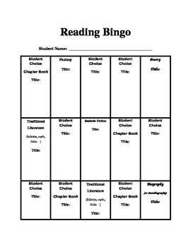 Reading Bingo Graphic Organizer