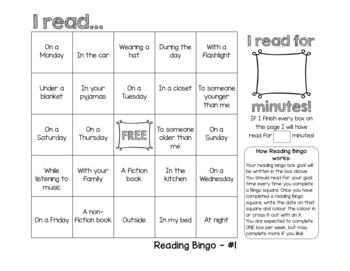 Reading Bingo Homework Tracker Incentive