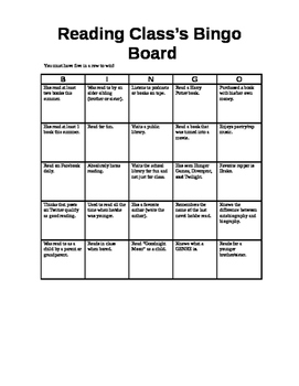 Reading Bingo Sheet