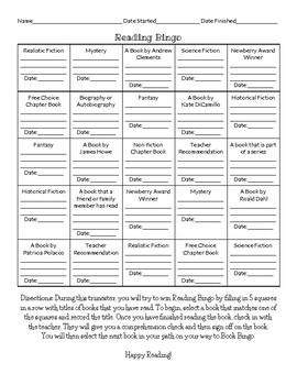Reading Bingo- Version 1