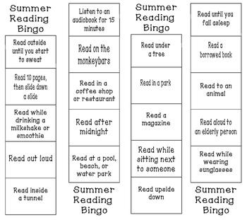 Reading Bingo bookmark--great for summer reading!