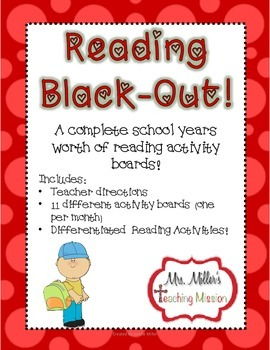 Reading Black-Out! No Prep! Differentiated Reading Homework Boards!