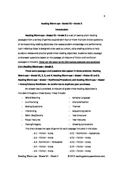 Reading Warm-ups - Blasts! #1 - Grade 3 - Passages and Questions