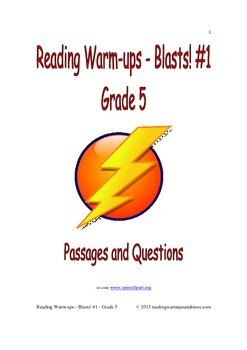 Reading Warm-ups - Blasts! #1 - Grade 5 - Passages and Questions