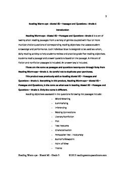 Reading Warm-ups - Blasts! #2 - Grade 5 - Passages and Questions