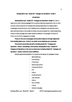 Reading Warm-ups - Blasts! #4 - Grade 4 - Passages and Questions