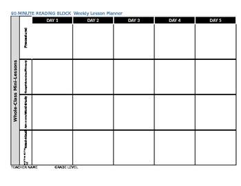 Reading Block Lesson Plan Templete Ediable.. 1st 6 weeks