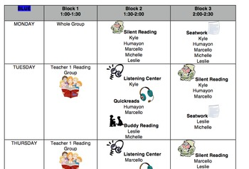 """Reading Block """"Menus""""- use to organize centers/rotations for sm. grp instruction"""