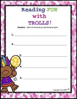Reading Board Game Fun With Trolls EDITABLE