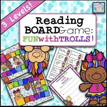 Reading Board Game: Fun With Trolls! EDITABLE!