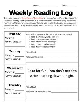 Weekly Reading Book Log (Editable Word Document-Two Options)