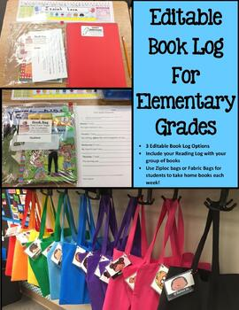 Elementary School Weekly Reading Book Log (Editable) Distance Learning