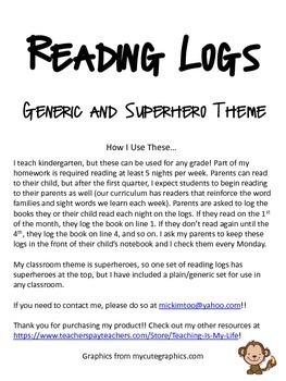 Reading / Book Logs - Plain and Superhero Theme