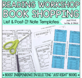 Reading Workshop Book Shopping List & Printable Post-It Notes