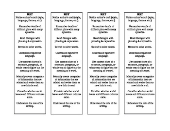 Guided Reading Bookmark RST Band