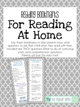 Reading Bookmark for At Home Reading