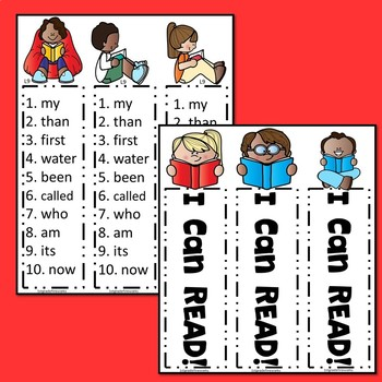 Reading Bookmarks with Sight Words