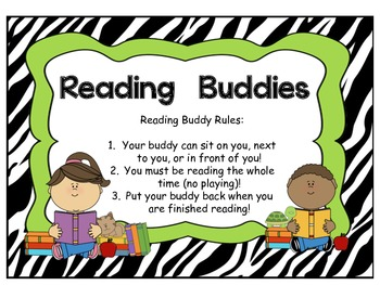 Reading Buddies Classroom Poster/Sign