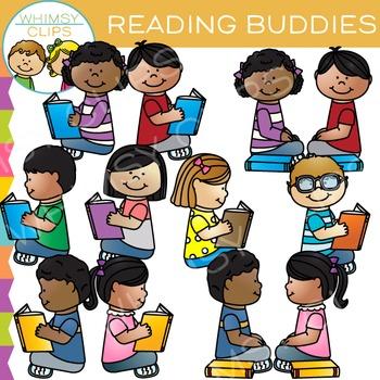 Buddies Reading Clip Art