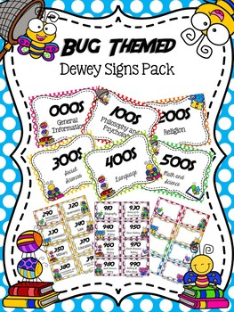Reading Bug Themed Dewey Signs Pack