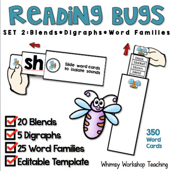 Reading Bugs 2 - Blends, Digraphs, Word Families Spelling Patterns (350 cards)